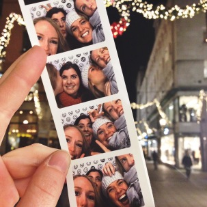 Huddling in the Photo Booth at Urban Outfitters on Biblioteksgatan to warm up.
